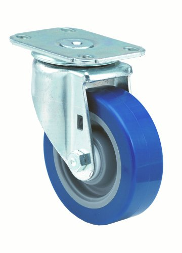 "E.R. Wagner 3F08 3-1/2"" Diameter Blue Polyurethane Tread/Gray Polyolefin Hub Wheel Medium Duty Institutional Swivel Plate Caster with Dust Cover, 3-3/4"" Length X 2-3/4"" Width Plate, 250 lbs Capacity Range, Delrin Wheel Bearing"