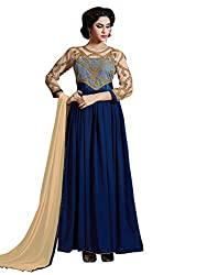 Look N Buy Latest Navy Blue Coloured Embroidered Semi-Stitched Dhupian ,Net and Georgette Salwar Suit With Dupatta