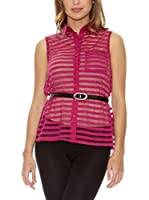 Rare London Blusa Sheer Stripe (Rosa)