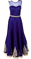 Blue Georgette Embroidered Dress Material Gown