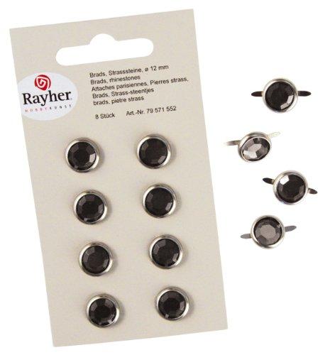 RAYHER - 79571552 - tachuelas, brillantes, de diámetro 12 mm, SB-tarjeta 8 pcs, marrón oscuro