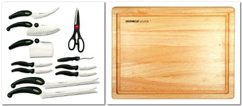 Miracle Blade III 91m3rbxst2 Perfection Series 11-piece Cutlery Set + Miracle Blade III Wood Cutting Board