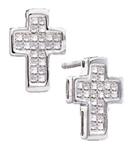 Pricegems 14K White Gold Ladies Princess Diamond Post and Screw Back Invisible Set Cross Stud Earrings (1/2 cttw, H-I Color, I1/I2 Clarity)