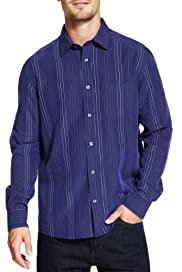 Modal Blend Dope Dye Striped Shirt [T25-7738M-S]
