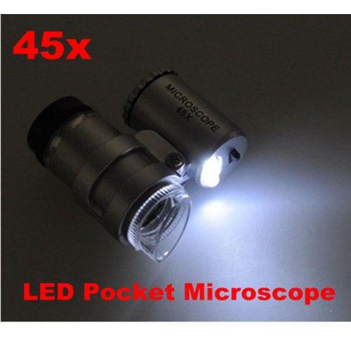 BestDealUSA 45x Mini LED Pocket Microscope with LED Light