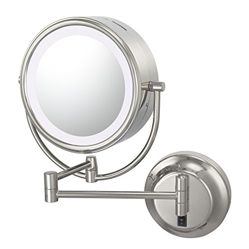 Kimball & Young 92545Hw Double-Sided Neo Modern Led Lighted Mirror, Hardwired, 1X And 5X Magnification, Chrome