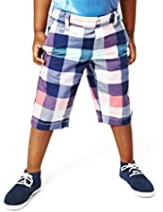 Pure Cotton Adjustable Waist Checked Shorts