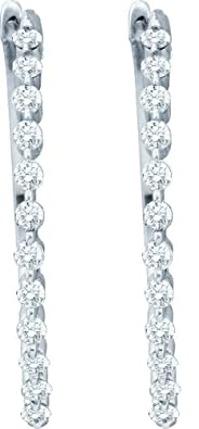 14ct White Gold 0.50 Dwt Diamond Fashion Hoop Earrings