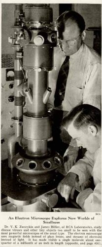 Rca Labs Scientists In 1945 Electron Microscope Image Original Paper Ephemera Authentic Vintage Print Magazine Ad / Article
