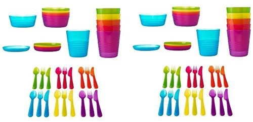 Ikea 72 Pcs Kalas Kids Plastic Bpa Free Flatware, Bowl, Plate, Tumbler Set, Colorful (72 Piece)