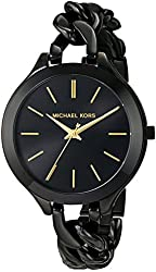 Michael Kors Slim Runway Black With Gold-Tone Stick Markers Women's Watch MK3317