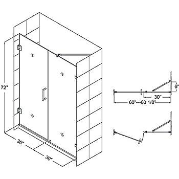DreamLine Unidoor Lux 60 in. Width, Frameless Hinged Shower Door, 3/8