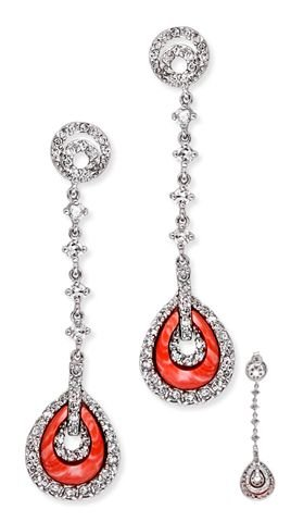C.Z. Diamond Coral Silver Teardrop Linear Earrings (Nice Holiday Gift, Special Black Firday Sale)