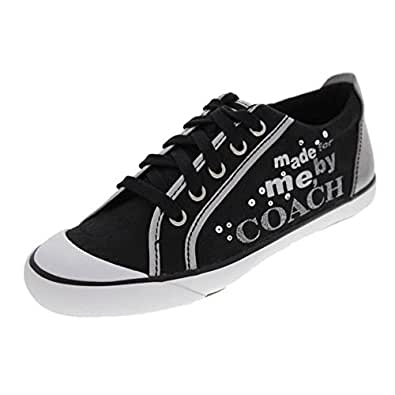 NEW AUTHENTIC COACH WOMENS BARRETT SNEAKERS (Black/Silver/7.0)