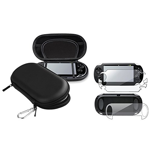 Eforcity® Full Body Front&Back Screen Protector Guard + Black Eva Case Compatible With Sony Playstation Vita Pch-1000 (Ps Vita)