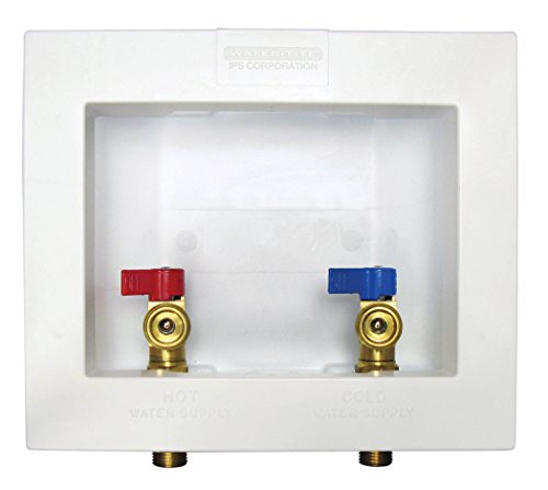Water-Tite 82068 Econo Center Drain Washing Machine Outlet Box with Brass Quarter-turn Valves Installed, 1/2