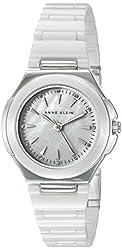 Anne Klein Women's AK/2177WTSV Crystal Accented Silver-Tone and White Ceramic Bracelet Watch