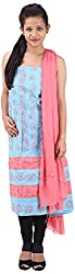 RV's Collection Women's Cotton Unstitched Salwar Suit Piece (Sky Blue & Pink, RB-4)