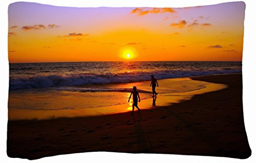 Microfiber Peach Standard Soft And Silky Decorative Pillow Case (20 * 26 Inch) - Nature Decline Beachs People Images Sand Silhouettes Sea Traces front-899222