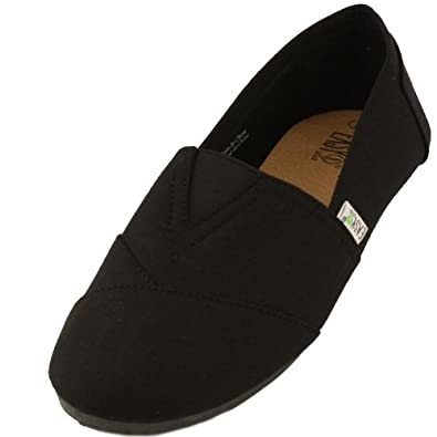 Men's Comfy Weight Light Casual Flats Loafers Shoes Canvas Slip On Black Sz 7