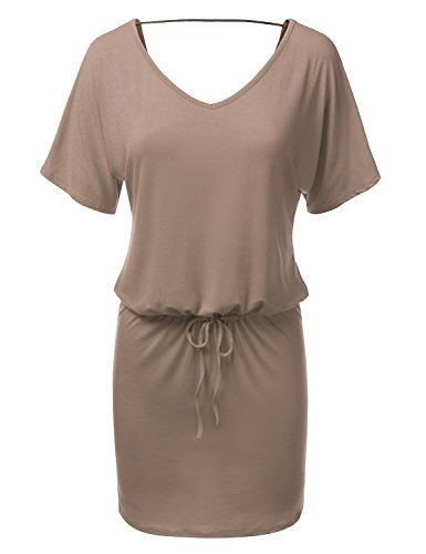 JJ Perfection Women's Loose Fit Drawstring Waist Short Sleeve Dress MOCHA XL