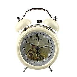 3 Inch Twin Bell Alarm Clock with Nightlight Wall Hanging or Table Alarm Clocks (3\'\' Beige)