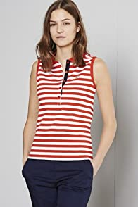 Sleeveless Stripe Stretch Pique Polo