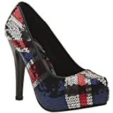 Iron Fist Jacked Up Union Jack Black Navy Red New Women Hi Heels Shoes