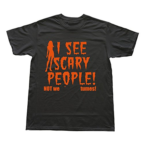 Men SEE SCARY PEOPLE Halloween Wearing Costumes Design Vintage Black T Shirt By RRG2G