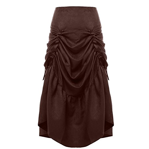 Blessume-Women-Punk-Corset-Skirt-Brown