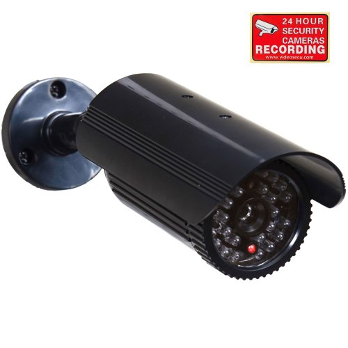 New VideoSecu Fake Security Camera CCTV Home Surveillance Dummy IR Infrared Bullet Camera with Flash...