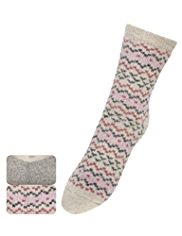 2 Pairs of Fair Isle Ankle High Socks with Wool