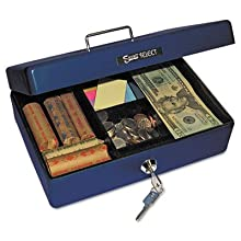 PM Company Securit Compact Size Cash Box with 2 Cash and 2 Coin Removable Compartment Tray, 9.75 x 6.83 x 3.25 Inch, Blue (04803)