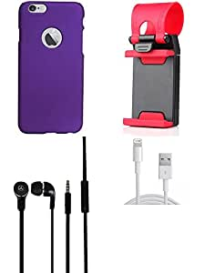 NIROSHA Cover Case Headphone USB Cable Mobile Holder for Apple iPhone 6Plus - Combo