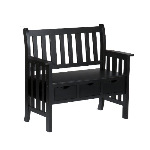 Southern Enterprises, Inc 3-Drawer Black Country Bench