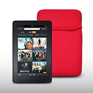NEOPRENE POUCH CASE/COVER FOR AMAZON KINDLE FIRE (NOT FIRE HD) - RED