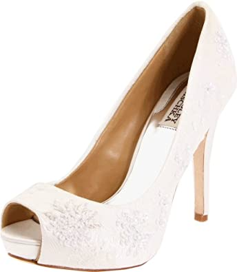 Badgley Mischka Women's Stella Open-Toe Pump,White,10 M US