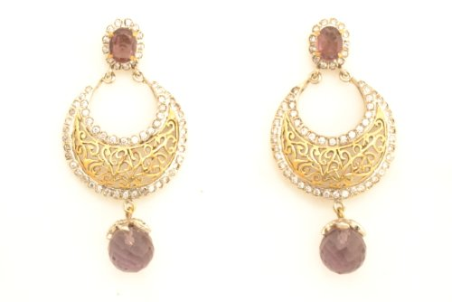 Fashion Balika Fashion Jewelry Gold-Plated Dangle & Drop Earring For Women Pink-BFJER075 (Multicolor)