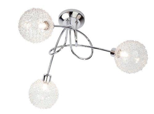 Nino Leuchten 63360306 Lampadario da soffitto Spider con 3 luci alogene, struttura cromata con sfere in vetro, 40 x 27 cm (ø x A)