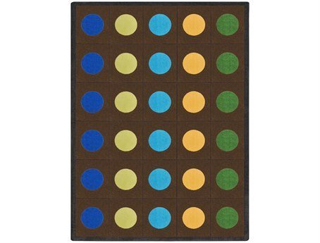 Joy Carpets Kid Essentials Early Childhood Border Round Lots of Dots Rug, Earthtone, 7'7""