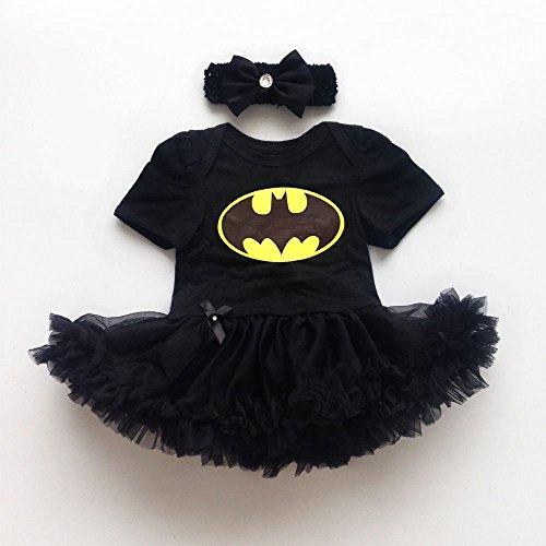 [Newborn Infant Baby Girl Batman Romper Bodysuit Dress Clothes Photo Outfits (6-12 month)] (Batman Outfit Baby)