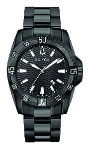 Bulova 65B114 - Reloj analógico de caballero de cuarzo con correa de acero inoxidable negra