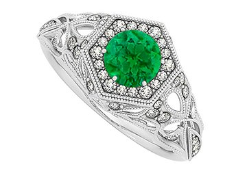 Pretty Emerald and Cubic Zirconia Hexagon Shape Filigree Design Cocktail Ring in 14K White Gold