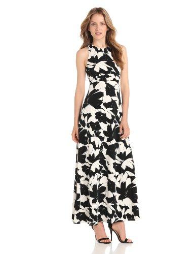 Isaac Mizrahi Women's Sleeveless Printed Maxi Dress, Black/Ivory, 6