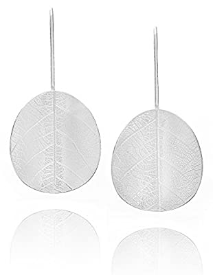 Amazing Beautiful Elegant Natural Leaf Sterling Silver Portuguese Design Medium Size Earrings
