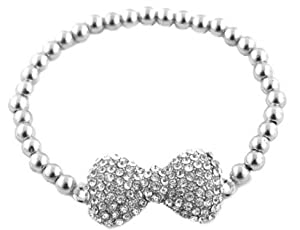 Ladies Silver Iced Out 3D Bow Bracelet with Metal Beaded Disco Balls Shamballah