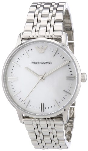 Emporio Armani AR1602 - Reloj analógico de cuarzo para mujer con correa de acero inoxidable, color plateado