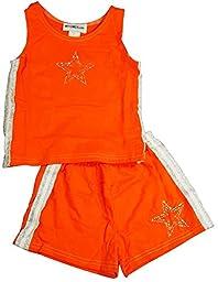 NY Girls\'.com - Little Girls\' 2-Piece Short Set, Orange, White 6264-6X