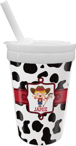 Cowprint Cowgirl Sippy Cup With Straw (Personalized) front-17780