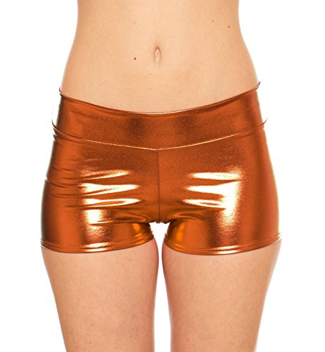 Women's Rave Booty Shorts Mini Hot Pants, Metallic Wet Look, By Red Hanger, Copper-L